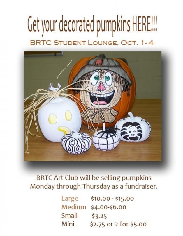 Art Club selling decorated pumpkins