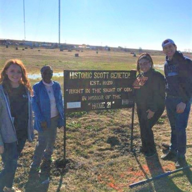 BRTC Students Help Erect Cemetery Sign for African-American Scott Cemetery