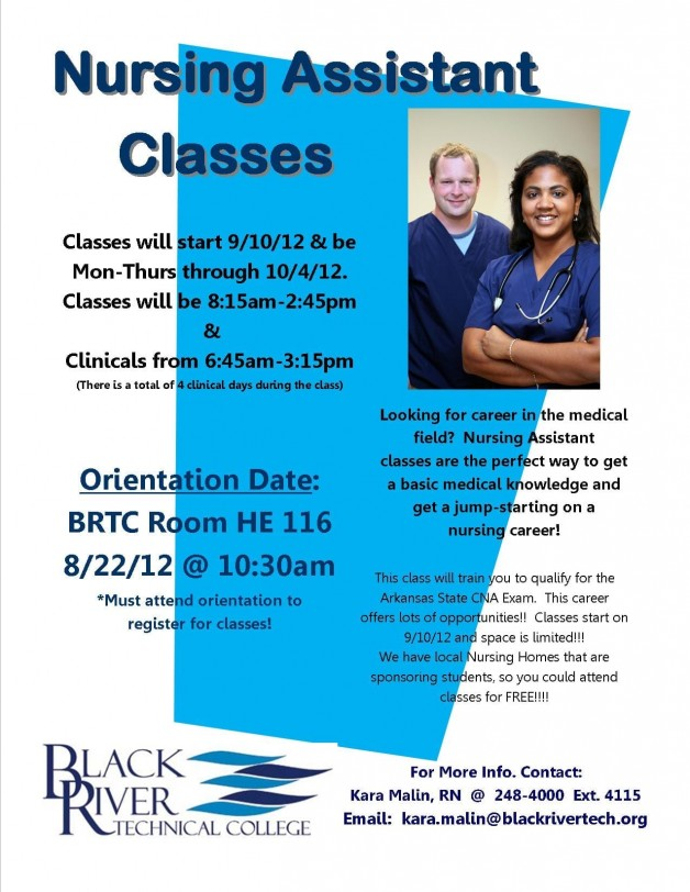 Upcoming Certified Nursing Assistant class at BRTC
